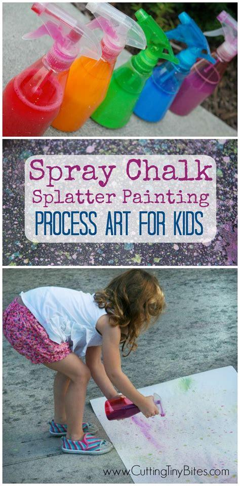 spray paint for preschoolers spray chalk splatter painting process spray chalk