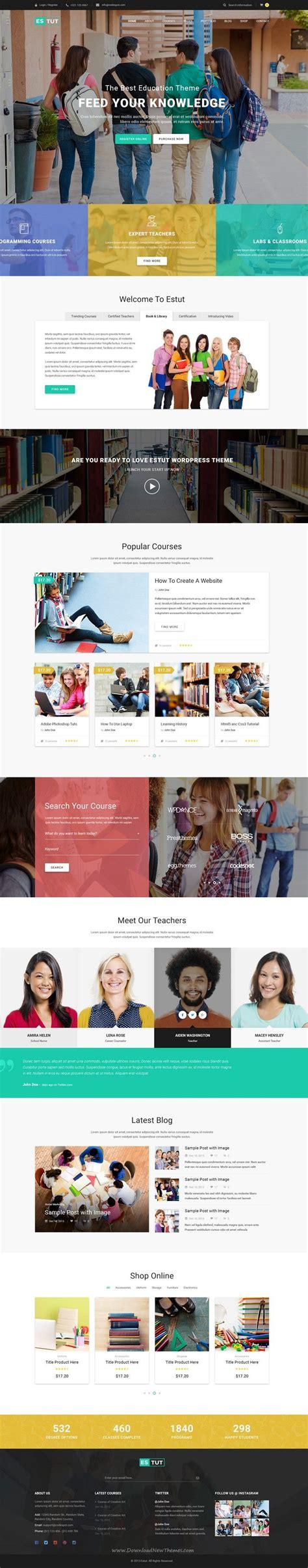 education themes html estut education wordpress theme material design