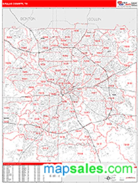 zip code map dallas county dallas county tx zip code wall map red line style by