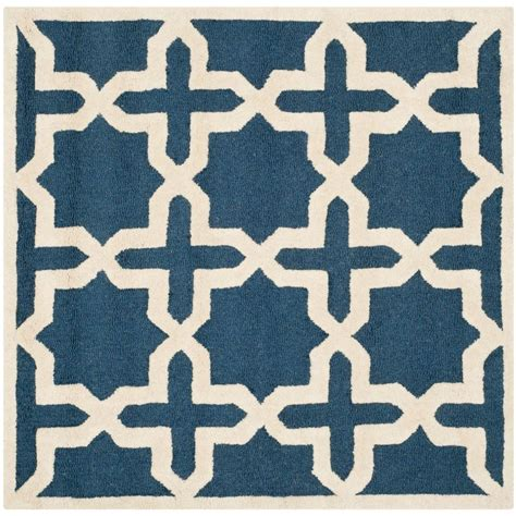 10 ft square wool rug safavieh cambridge navy blue ivory 10 ft x 10 ft square
