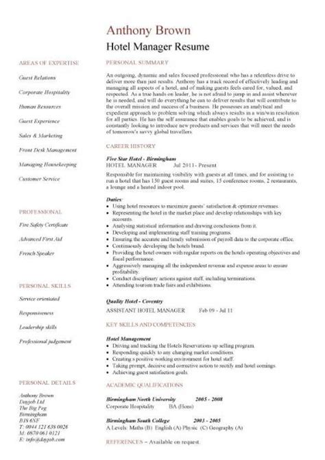 Resume Hotel Duty Manager by Hotel Manager Cv Template Description Cv Exle