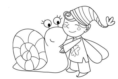 kostenlose malvorlage maerchen elf mit schnecke zum ausmalen
