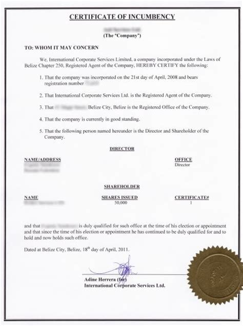 certificate of incumbency template what does a certificate of incumbency looks like for a