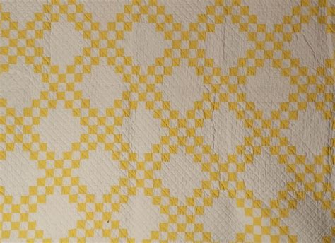 Yellow And White Quilt by Antique Quilt Yellow And White Chain Sold