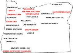 oregon universities map map of oregon colleges and universities college