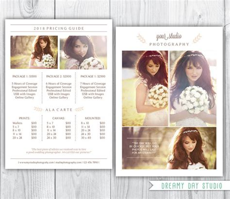 Wedding Photography Price List by Photography Pricing Template Wedding Photographer Pricing