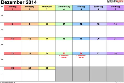 Kalender Dezember Kalender Dezember 2014 Als Excel Vorlagen
