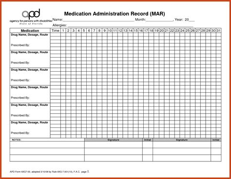 Medication Record Template by Medication Administration Record Template Pdf Hospi