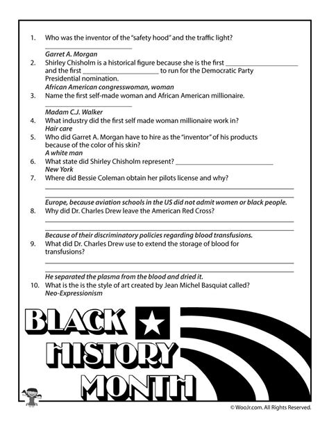 printable quiz about black history black history month biographies quiz answer key woo jr