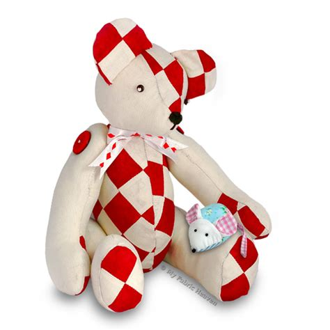 Patchwork Teddy Pattern - 2 x fabric sewing patterns patchwork teddy mouse