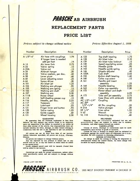 airbrush history 1956 paasche ab price list page