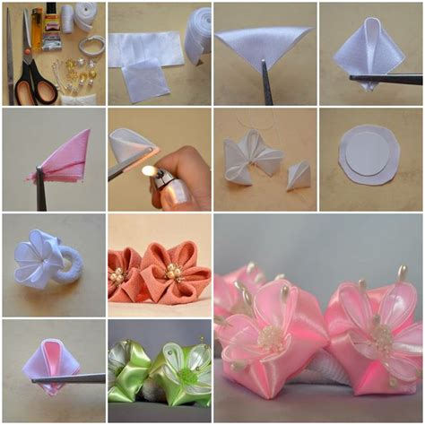 Handmade Ribbon Flowers Tutorial - how to make beautiful flowers of ribbon bow step by step