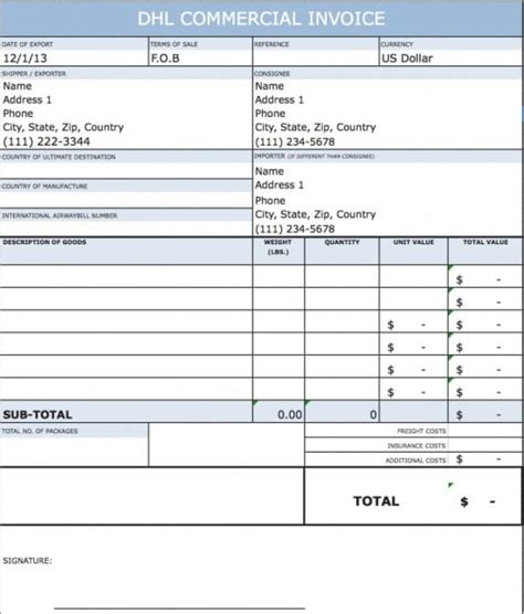Download Dhl Commercial Invoice Template Rabitah Net Commercial Invoice Template