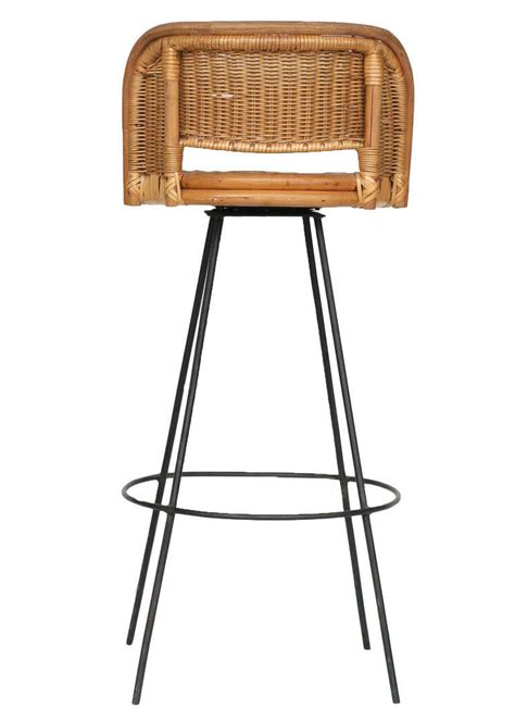 Bar Stools In Chicago | seng of chicago swivel wicker and iron bar stools at 1stdibs