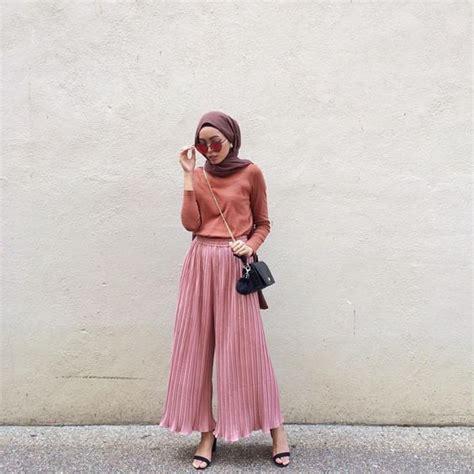 Celana Basic Kulot Plisket 7 inspirasi padu padan celana kulot untuk hijabers macak ayu