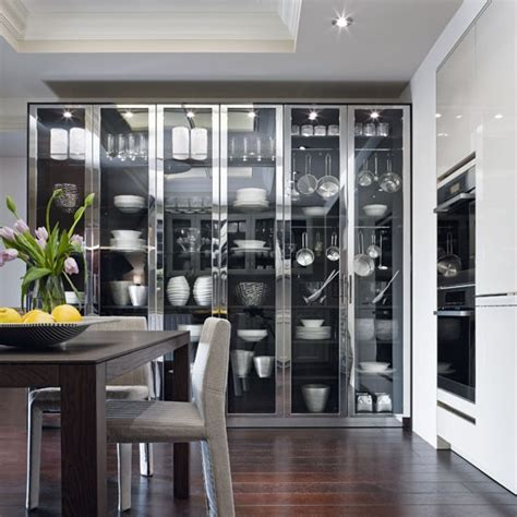 modern glass kitchen cabinets chic aluminium and glass cabinets contemporary kitchen