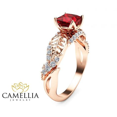 14k gold ruby ring deco engagement ring ruby