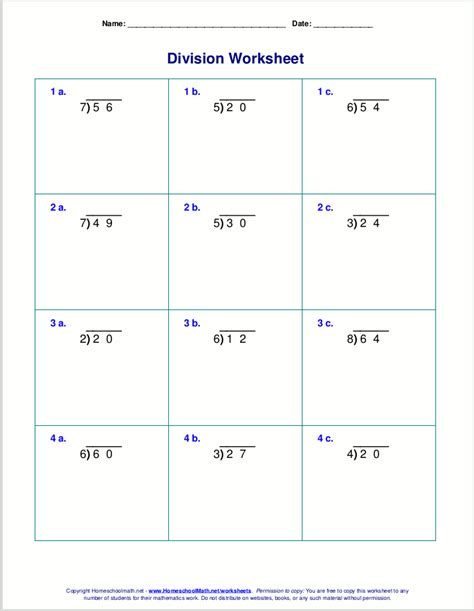 printable worksheets on long division long division worksheets for grades 4 6