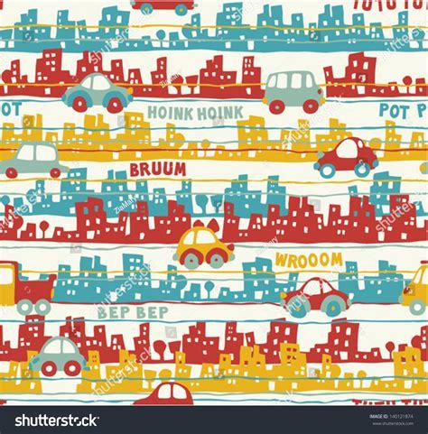 traffic pattern en espanol cute urban traffic vector seamless pattern stock vector