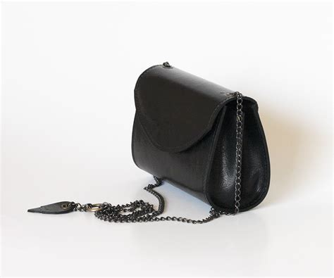 Flypower Pouch Bag Black black leather bag small purse black leather handbag dalfia