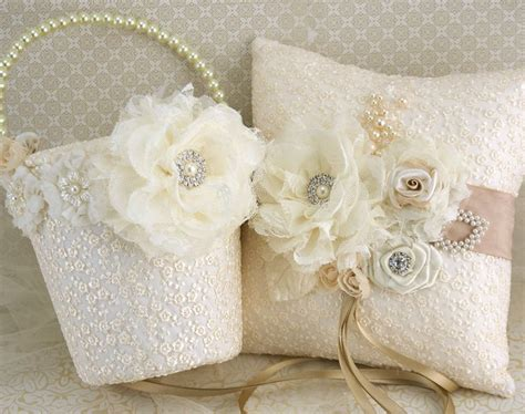 Ivory Flower Basket And Ring Bearer Pillow Set pearl flower basket and ring bearer pillow set in