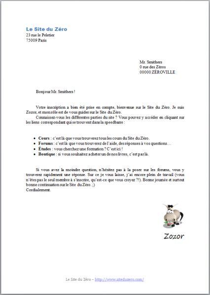 Taper Un Cv by Pour Ecrire Une Lettre Administrative Lettre Ordinaire