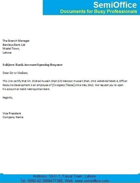 Reference Letter Format For Bank Account Opening Bank Account Opening Letter For Company Employee