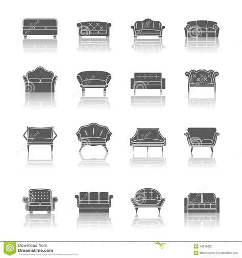 icon design upholstery sofa icon black stock vector image 44536852