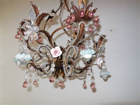 Pink Beaded Chandelier Pink Drops And Flowers Beaded Tole Chandelier For Sale At 1stdibs