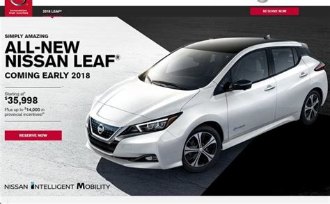 Nissan Leaf Torque by Canadian Reservations Open For 2018 Nissan Leaf And No