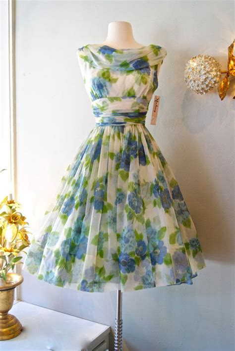 Garden Dresses 50s Dress Vintage 1950s Chiffon Garden Dress S