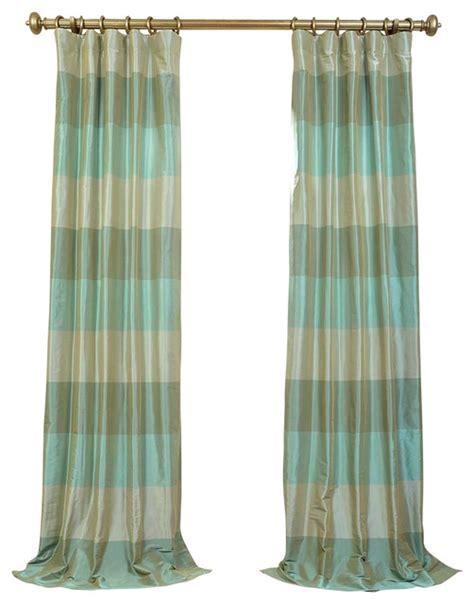 Teal Taffeta Curtains Jade Teal Iridescence Faux Silk Taffeta Stripe Curtain Single Panel 50 Quot X120 Quot Contemporary
