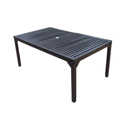 Oakland Living Rochester 67 In X 40 In Patio Dining Patio Table Home Depot