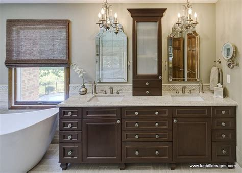 Walnut Double Vanity Transitional Bathroom Lugbill Two Vanity Bathroom Designs