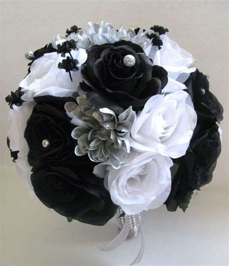 17 wedding bouquet silk flower bridal white black silver bouquets package ebay