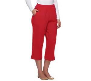 Denim amp co classic waist crinkle gauze capri pants qvc com