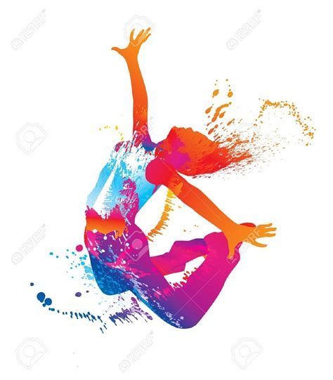 jump  dancing girl  colorful spots  splashes