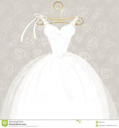 Beautiful white wedding gown on golden hanger and ornamental