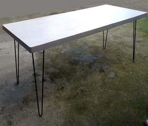 Polished Concrete Dining Table Polished Concrete Kitchen Or Dining Table On Steel Hairpin Legs Industrial Loft Industrial