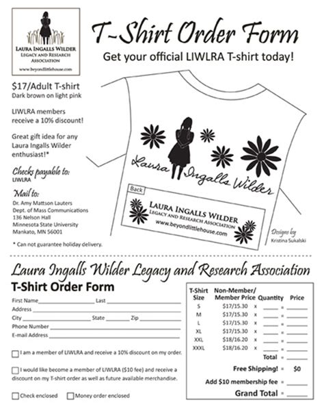 family reunion t shirt order form template membership form and bid sheet photography design by