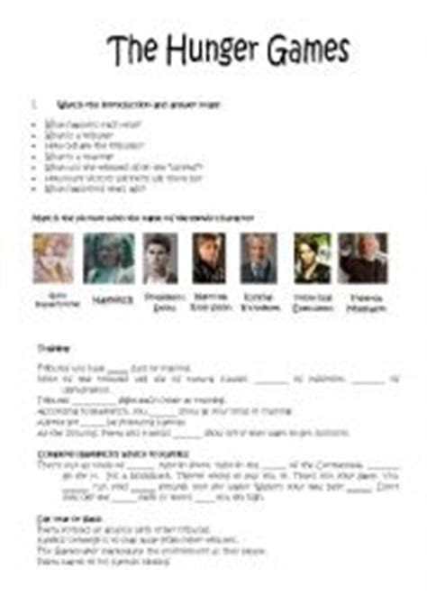 the hunger games themes worksheet answers english worksheets the hunger games worksheets