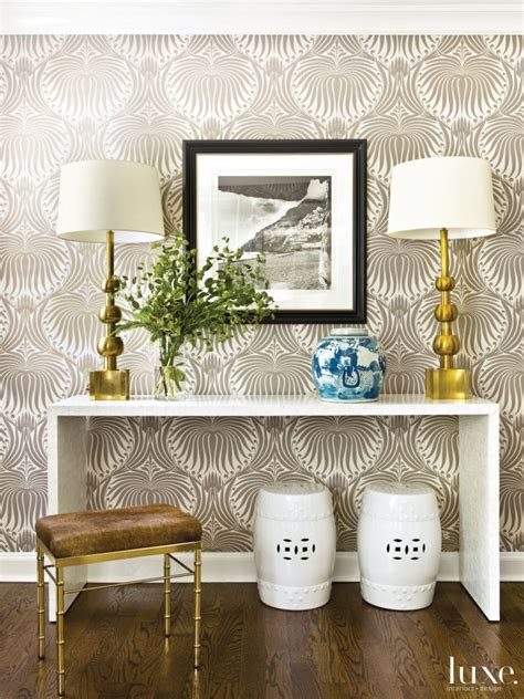 foyer wallpaper modern neutral foyer with printed wallpaper make an