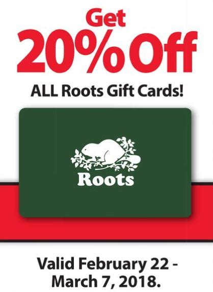 Roots Gift Card - fortinos ontario save 20 on roots gift cards february 22nd march 7th canadian