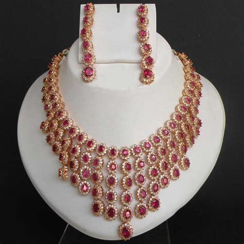 Set Bridal India Kalung India Premium Aamh021 gold pl indian jaipur navratan designer bridal jewelry ruby necklace set