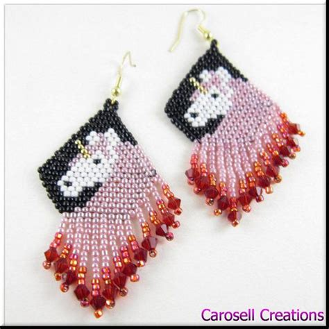 beadwork pink unicorn beadwork in pink and dangle seed bead earrings
