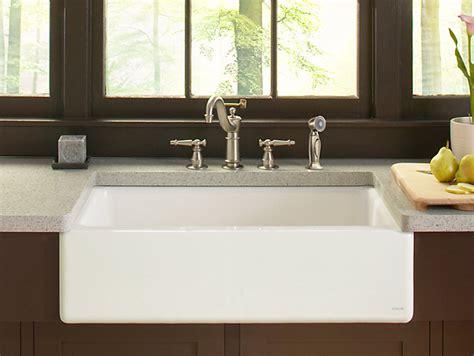 kohler dickinson farmhouse sink dickinson apron front kitchen sink with four faucet holes