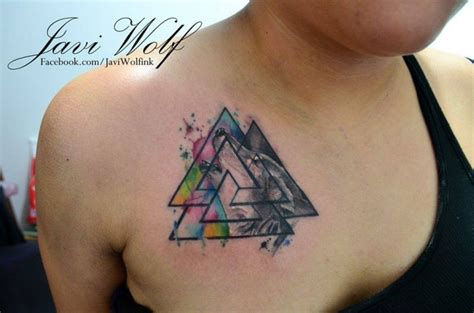 watercolor triangle tattoos original triangle shaped watercolor on shoulder