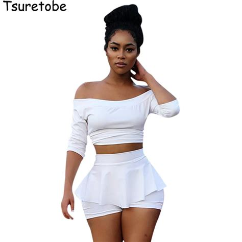 2 piece l set prodotto tsuretobe new fashion white crop top and skirt
