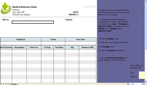 medical invoice template uniform invoice software