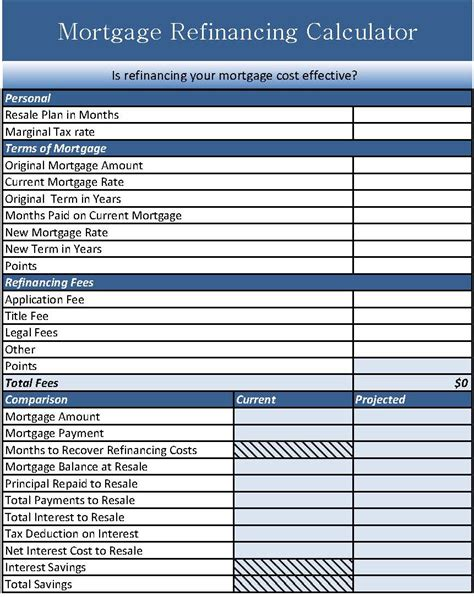 mortgage refinance calculator income tax